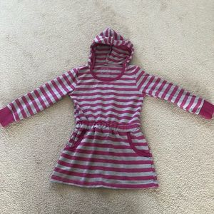 5/$30 Girls Pink and Gray Stripped Hoodie Dress
